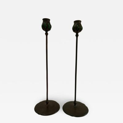 Tiffany Studios Pair Tiffany Studios bronze green favril glass Candlesticks