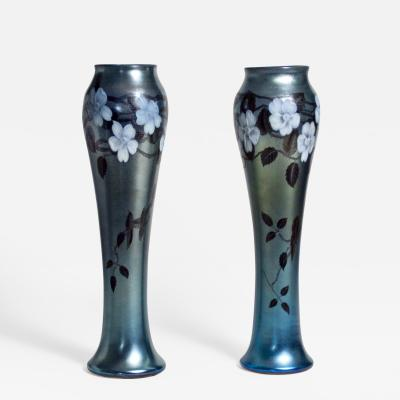 Tiffany Studios Pair of Monumental Favrile Glass Vases