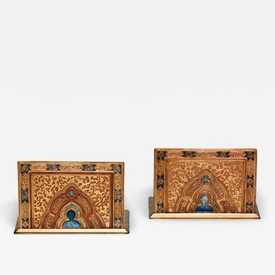Tiffany Studios Pair of Rare Enameled Bookends