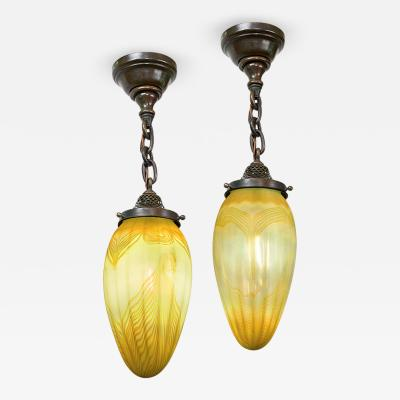 Tiffany Studios Pair of Tiffany Studios New York Stalactite Chandeliers