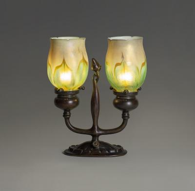 Tiffany Studios Rare Electrified Double Candelabrum