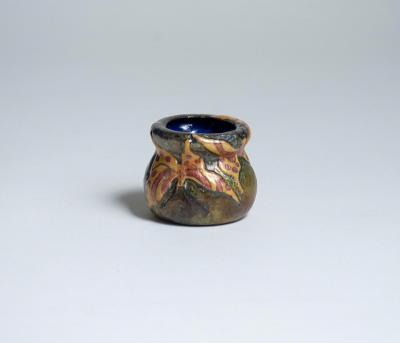 Tiffany Studios Rare Enamel Vase with Butterfly Decoration