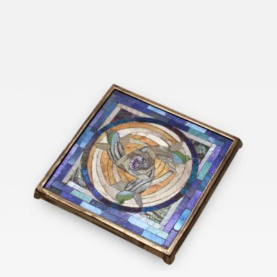 Tiffany Studios Rare Favrile Glass Mosaic Tea Stand with Swirling Fish