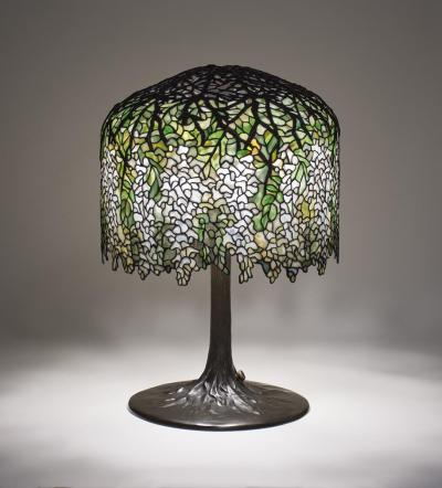 Tiffany Studios Rare White Wisteria Table Lamp