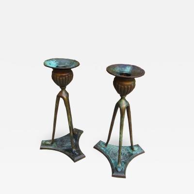 Tiffany Studios Tiffany Bronze Candlesticks 1906