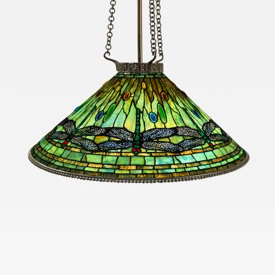 Tiffany Studios Tiffany Glass and Bronze Dragonfly Chandelier