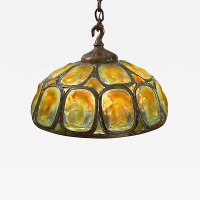 Tiffany Studios Tiffany Gold and Yellow Opalescent Turtleback Tile Chandelier