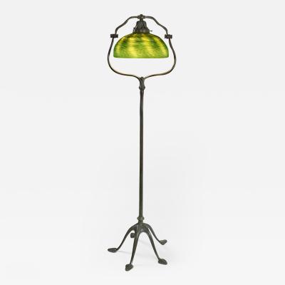 Tiffany Studios Tiffany Studios New York Favrile Glass and Bronze Harp Floor Lamp
