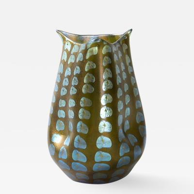 Tiffany Studios Tiffany Studios New York Glass Vase with Silver Dotted Motif