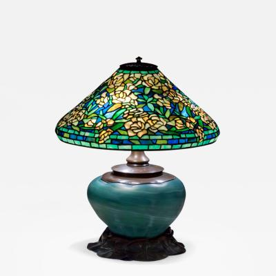 Tiffany Studios Wild Rose Shade on Rare Blown Glass Base