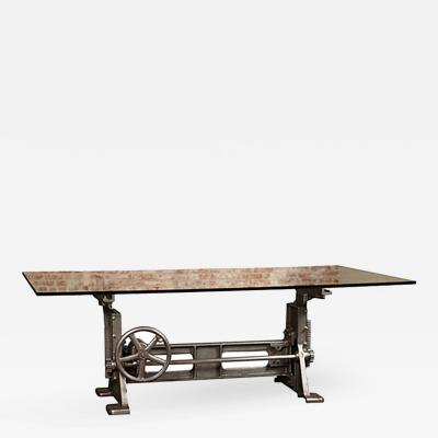 Tim Byrne Cast Iron Glass Vintage Industrial Adjustable Dining Conference Table Desk