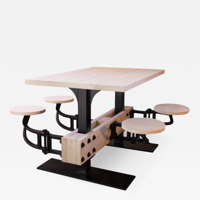 Tim Byrne Industrial Cafeteria Swing Out Seat Kitchen Breakfast Dining Iron and Wood Table