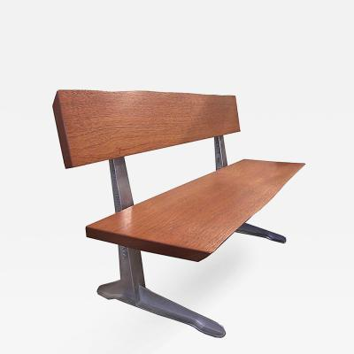 Tim Byrne Mid Century Modern Industrial Mahogany Wood Aluminum Bench Seat