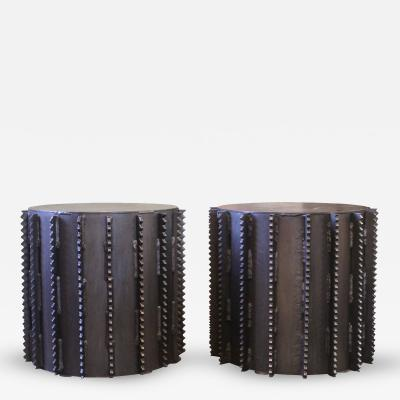 Tim Byrne Pair of Vintage Industrial Brutal Steel Side Coffee End Tables