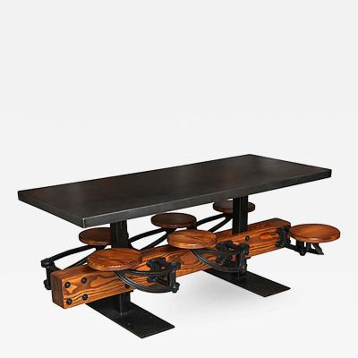 Tim Byrne Swing Out 6 Seat Dining Table Cast Iron Wood with Metal Top