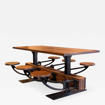 Tim Byrne Vintage Industrial Iron Cafeteria Swing Out Seat Dining Kitchen Table