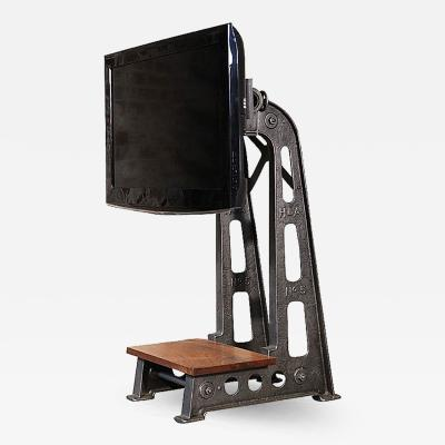 Tim Byrne Vintage Industrial Steampunk Cast Iron Steel TV Media Screen Display Stand Table