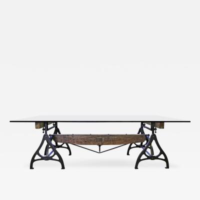 Tim Byrne Vintage Industrial Wood Steel Cast Iron Conference Dining Table