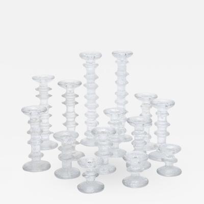 Timo Sarpaneva Timo Sarpaneva Festivo Glass Candlesticks for Iittala Findland 1960s