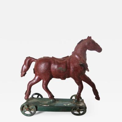Tin Horse on Platform Penny Toy Diminutive Circa 1890 German