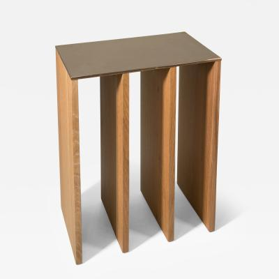 Tinatin Kilaberidze Console in Oak with Bronze Top by Tinatin Kilaberidze