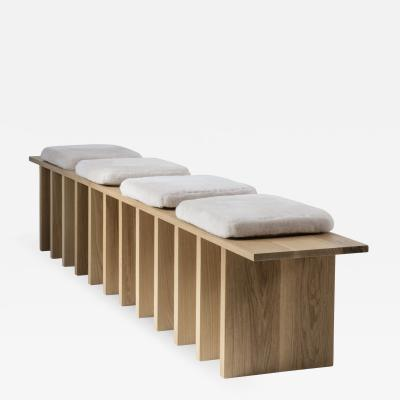 Tinatin Kilaberidze Long Bench in Oak with 4 seats by Tinatin Kilaberidze