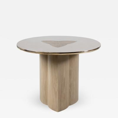 Tinatin Kilaberidze Side table with BRONZE TOP and Inlay by Tinatin Kilaberidze