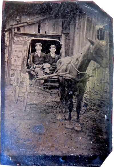 Tintype Displaying a Buffalo Bill Poster circa 1890s
