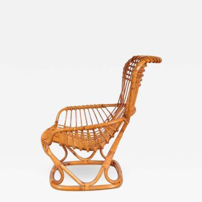 Tito Agnoli 1960s Rattan Lounge Chair by Tito Agnoli Italy