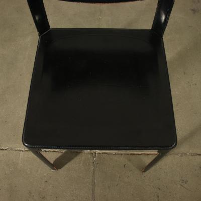 Tito Agnoli Group Of Six Tito Agnoli Chairs Metal Leather 1980s