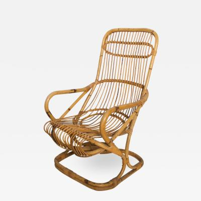 Tito Agnoli Mid Century Modern by TITO AGNOLI Tall Wicker Lounge Chair Italy