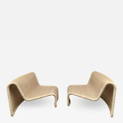 Tito Agnoli Pair of Rattan Slipper Chairs T by Tito Agnoli Italy 1970s