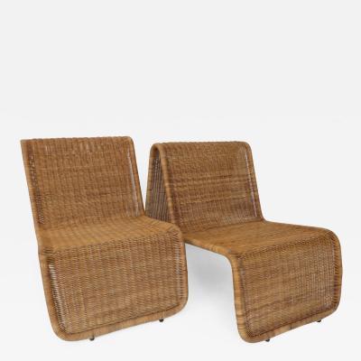 Tito Agnoli Pair of Tito Agnoli Wicker P3 Sculptural Lounge Chairs for Bonacina Italy