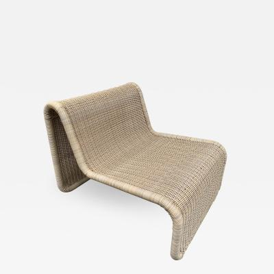 Tito Agnoli Rattan Slipper Chair P3 by Tito Agnoli Italy 1970s