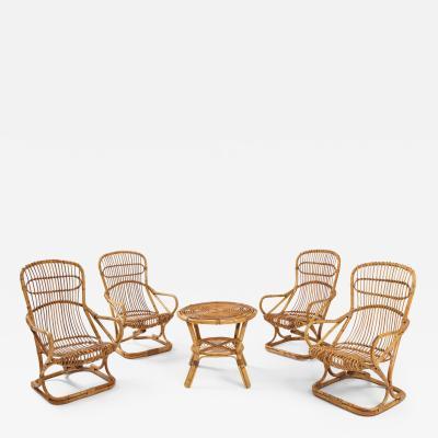 Tito Agnoli Set of Four Bamboo Armchairs and Table by Bonacina Italy 1960s
