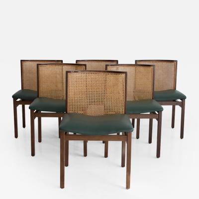 Tito Agnoli Set of Six Tito Agnoli Chairs with Green Leather Seat and Cane Back