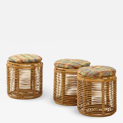 Tito Agnoli Set of Three Tito Agnoli Cane Stools Danish Wool Cushions Italy c 1950 s
