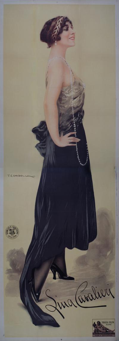 Tito Corbella Italian Stone Lithograph of The Most Beautiful Woman in the World c 1915