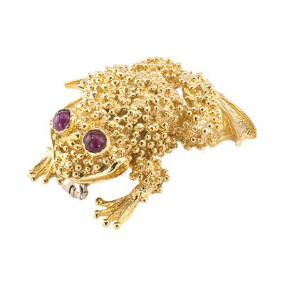 Toad Brooch 18 Karat Gold and Ruby