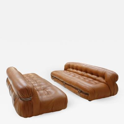 Tobia Scarpa Tobia Scarpa And Edited By Cassina Pair Of Brown Leather Soriana Sofas Italy 60