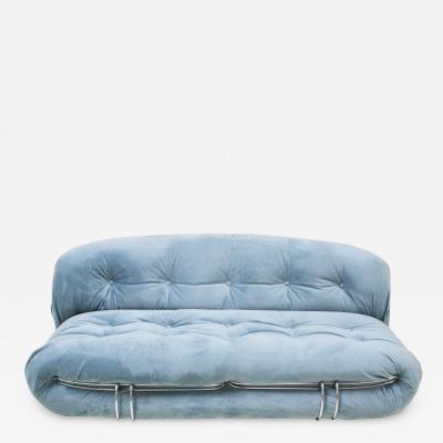 Tobia Scarpa Tobia Scarpa Mid Century Modern Blue Cotton Velvet Soriana Italian Sofa