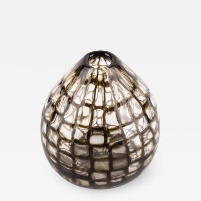 Tobia Scarpa Tobia Scarpa for Venini Murano Blown Glass Midcentury Brown Occhi Murrine Vase