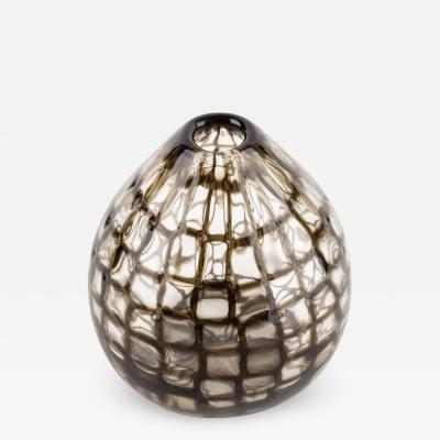 Tobia Scarpa Tobia Scarpa for Venini Murano Blown Glass Midcentury Brown Occhi Murrine Vase