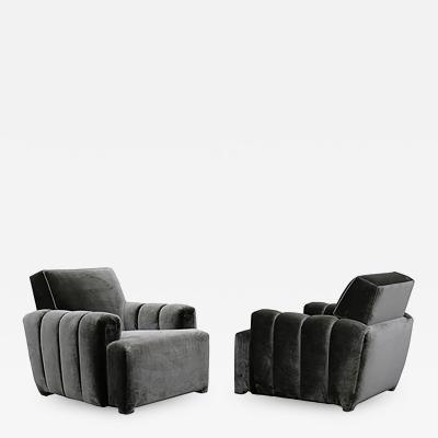 Todd Merrill Todd Merrill Custom Originals Pair of Channel Tufted Club Chairs