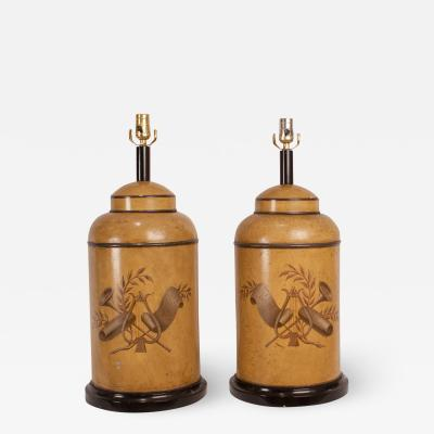 Tole Canister Lamps A Pair