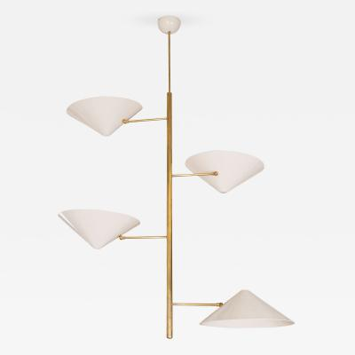 Tole Off White Chandelier with Brass Rod and Four Round Adjustable Shades Italy