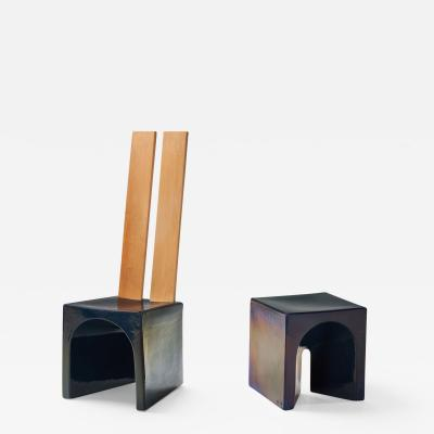 Tom Bruinsma Tom Bruinsma Glazed Chair and Table for Mobach Ceramics Netherlands ca 1980s