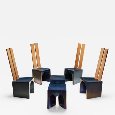 Tom Bruinsma Tom Bruinsma Glazed Chairs and Tables for Mobach Ceramics Netherlands ca 1980s