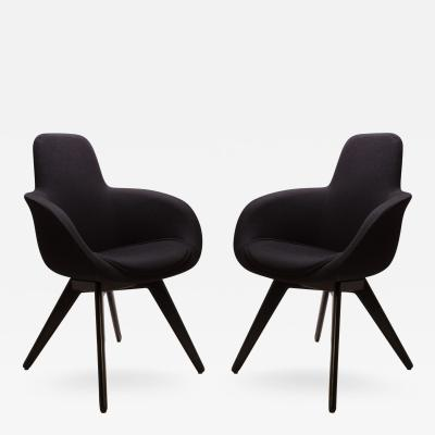 Tom Dixon Scoop High Chairs in Black Wool by Tom Dixon Pair