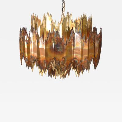 Tom Greene Brutalist Brass and Copper Chandelier